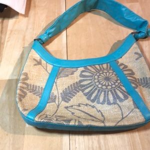 ECHO  Printed Jute Bag with Turquoise Leather